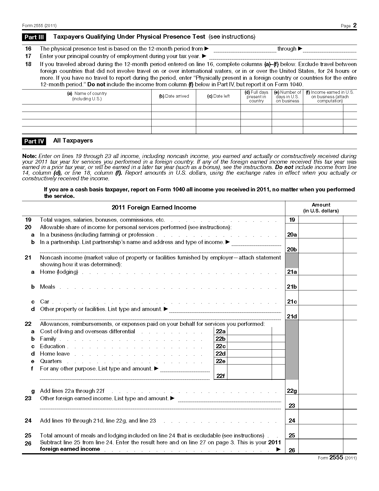 Form Foreign Earned Income