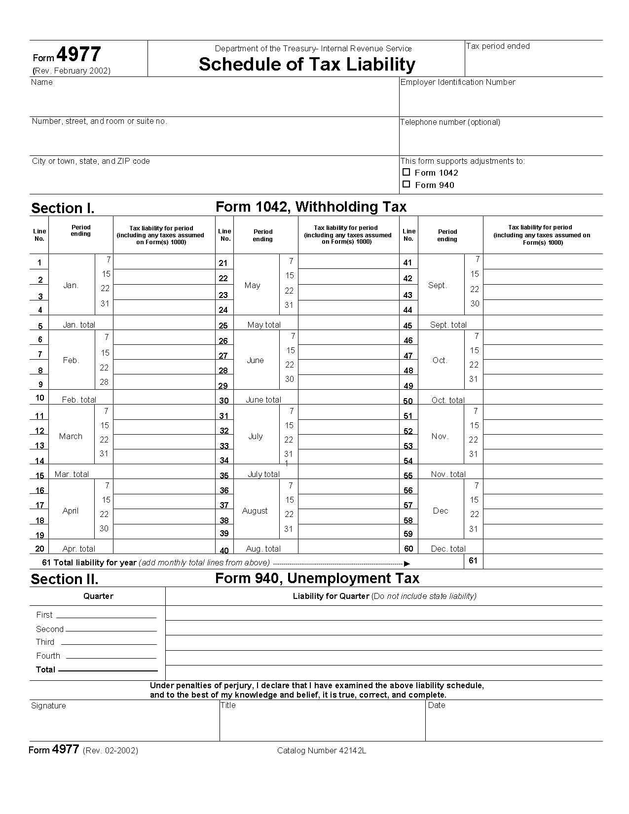 Form Schedule Of Tax Liability
