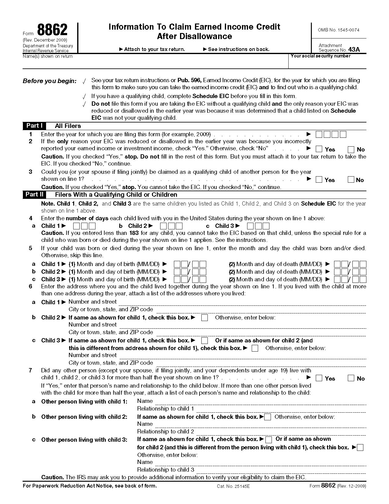 Earned Income Credit Eic Worksheet