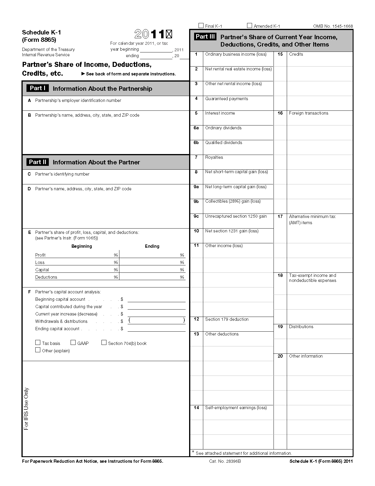 Form Schedule K 1 Partner S Share Of Income Deductions Credits Etc