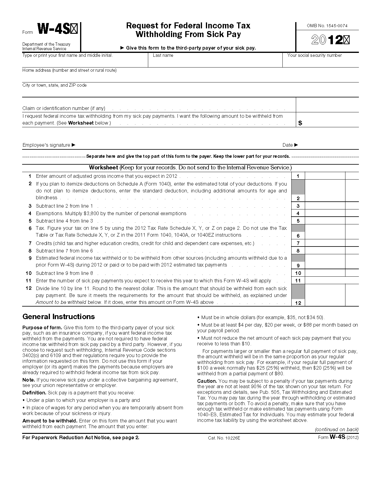 Form W 4s Request For Federal Income Tax Withholding From