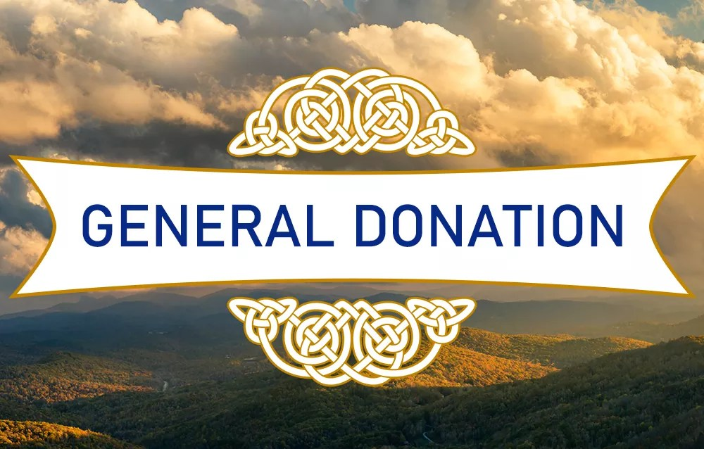 """Cloudy sunset background with """"General Donation"""" written upon a white banner."""