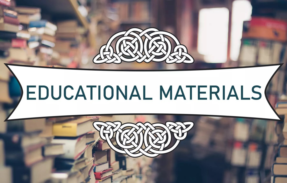 "A white banner that says ""Educational Materials"" on a blurry background of a bookstore."