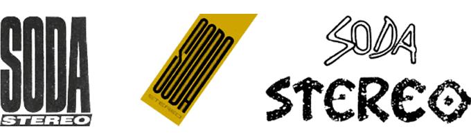 Soda Stereo. De izquierda a derecha, logos de los discos: «Nada Personal» (1985), «Signos» (1986) y «Ruido blanco» (1987).