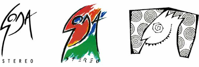 Soda Stereo. De izquierda a derecha, logos de los discos: «Doble vida» (1988) y «Languis» (1989) e isotipo del «Club de la furia».