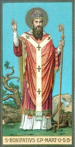 San Bonifacio destruyó un árbol druida para implantar la Cruz
