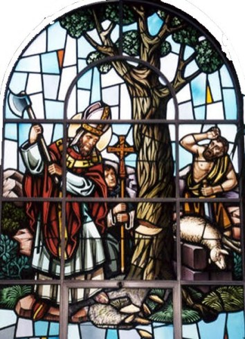 "Saint Boniface destroying the ""Tree of the Universe"" now promoted as ""Christmas tree."""