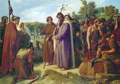 San Bonifacio predica que el árbol no se debe adorar como deidad, y en su lugar les enseña el significado de la Santa Cruz.