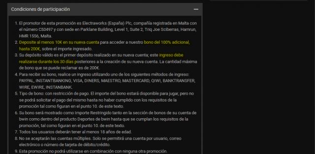 bwin bono bienvenida 200 apuestas foronaranja