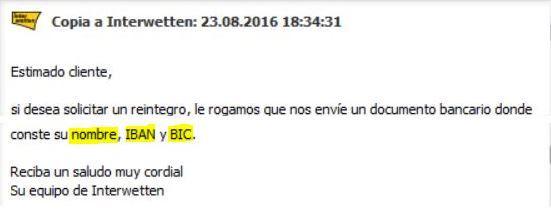 interwetten negacion pago banco iban bic foronaranja