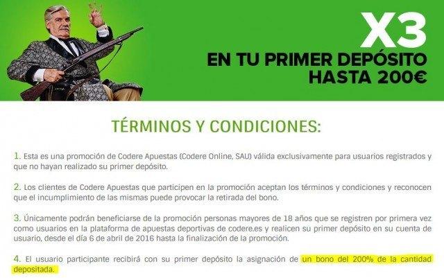 codere-bono-bienvenida-x3-publicidad-enganosa-condiciones-foronaranja