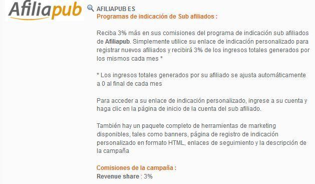 afiliapub plataforma afiliacion revenueshare cpa 3 comisiones referir foronaranja
