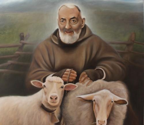 dibujo padre pio ovejas