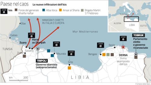 mapa de la invasion desde libia