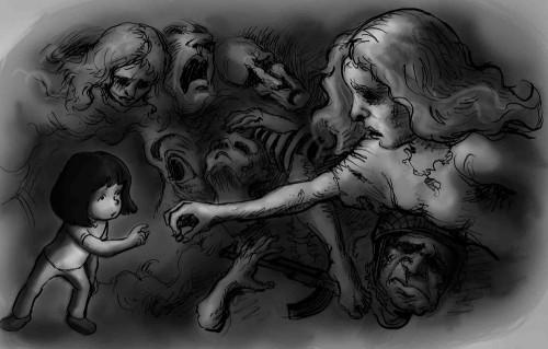 niña con madre y fantasmas