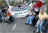 Residentes del CAMF de Leganés durante la marcha [Clic para ampliar la imagen]