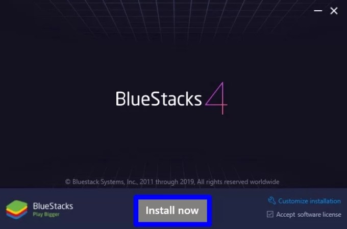 Select Install now in BlueStacks Installation