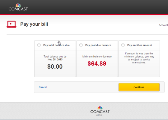 comcast payment due