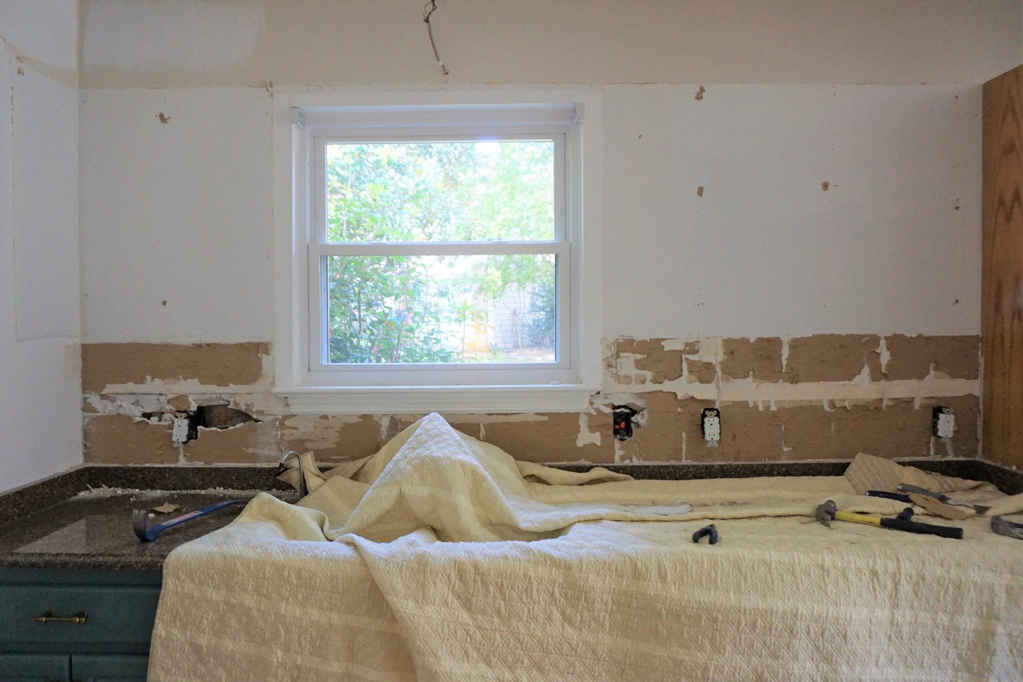 Removing A Tiled Backsplash Prepping Walls For New Tiles One Room Challenge Week 3 Forrester Home