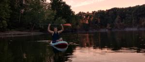 Paddleboarding at the lake