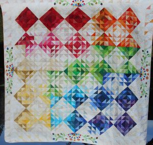 "2016 Raffle Quilt""Patti's Garden"" created by the Bee Friends. The quilt is queen-size with a generous drop on all sides. Raffle tickets for sale; $1/each or 6 for $5, etc."