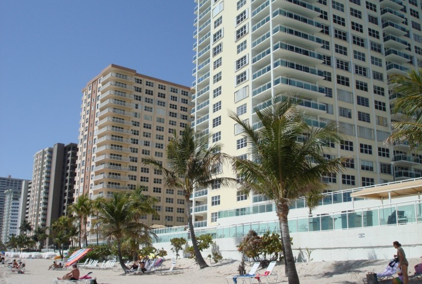View of Galt Ocean Mile condos Fort Lauderdale from the beach