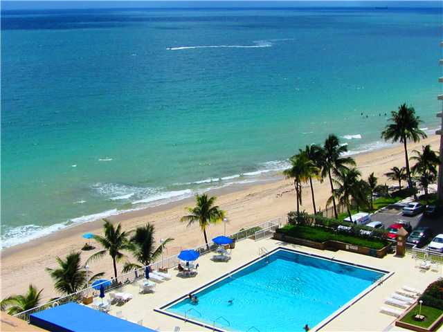 View of the pool from a Condo in Plaza East Fort Lauderdale