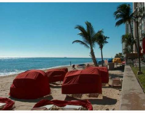 View of the beach and cabanas at Galt Ocean Club Ft Lauderdale