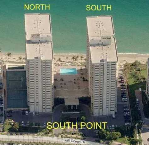 View of the North and South Towers of Southpoint condominium here in Ft Lauderdale