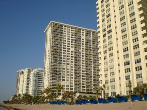 View of Galt Ocean Mile condos including Playa del Sol from the beach