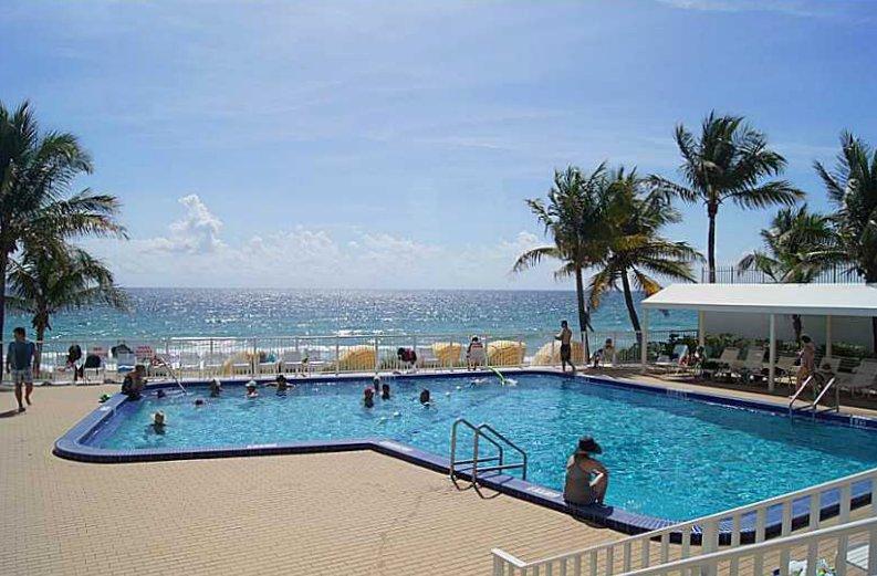 Pool views from Fort Lauderdale condo here in Ocean Summit