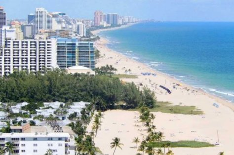 Aerial view of Fort Lauderdale oceanfront condos
