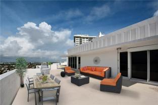 Terrace views from Penthouse 1 The Commodore condos Fort Lauderdale sold in 2017