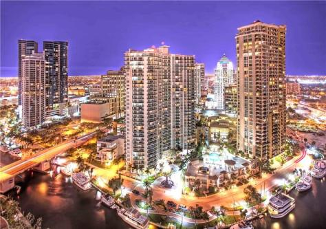 Twilight view Fort Lauderdale condos for sale down town Las Olas!