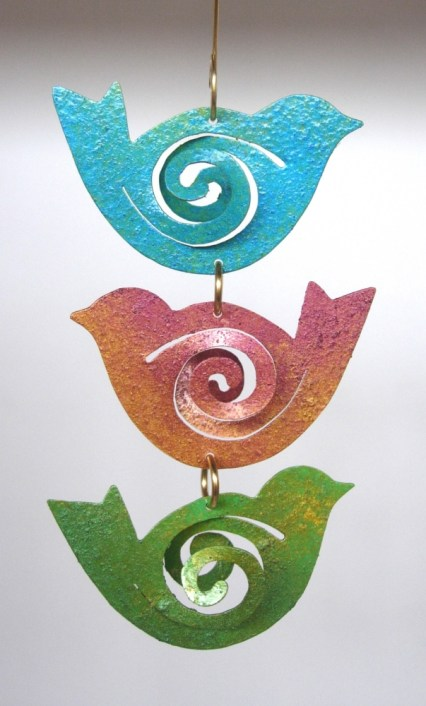 Art Jordan Jewelry 2012 Ornament 3 birds bright