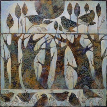 Art Sue Davis 2015 Trees and birds 24x24