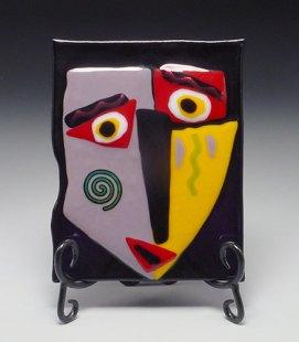 art paula crill fused glass face