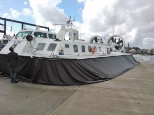 docked hovercraft ferry