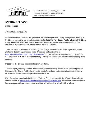 Fort Dodge Public Library Closure - COVID-19 3.17.2020