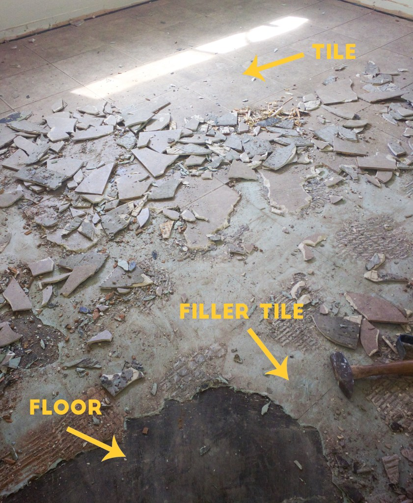 subfloor with filler tile and floor tile