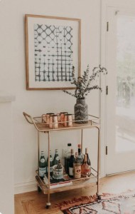 bar cart and photo frame