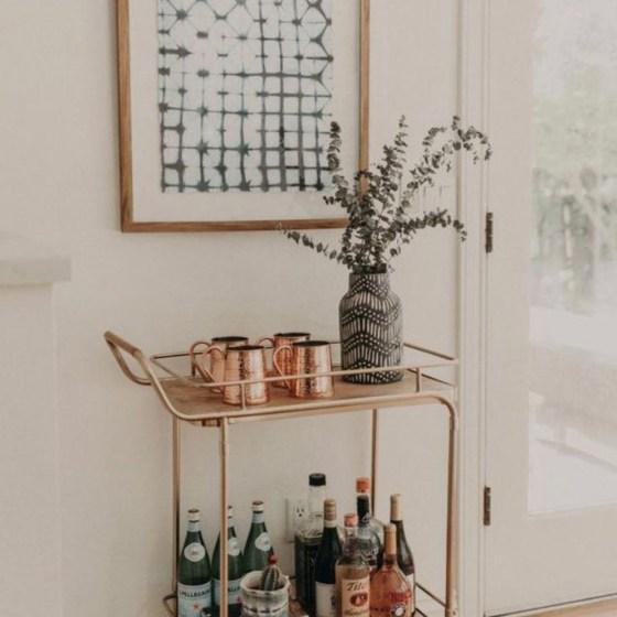 bar cart and photo frame