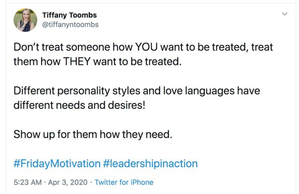 example of a tweet where a person tells a personal story
