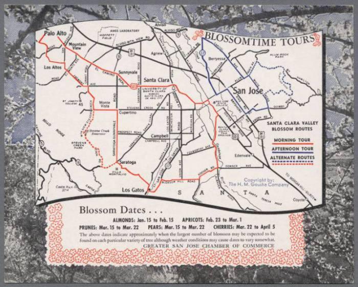 Blossomtime Tours, Santa Clara Valley Blossom Routes, circa 1953