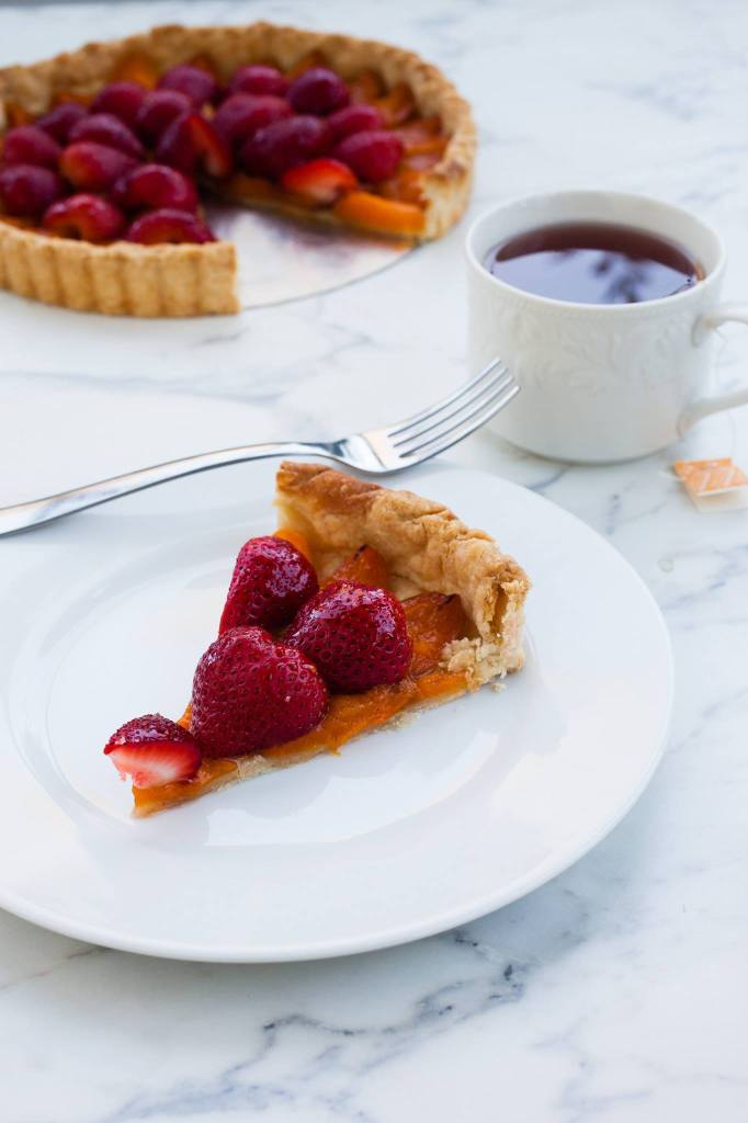 Apricot Strawberry Tart with Tea