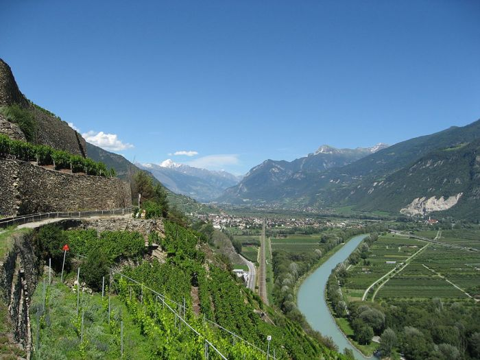 Valais and Rhone River View