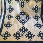paper pieced quilt, blue and white quilt