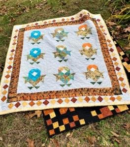 floral patchwork quilt, island batik