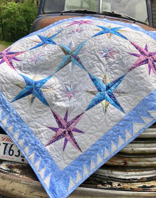 Starlight paper pieced quilt