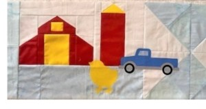 Barn and silo paper pieced quilt block pattern